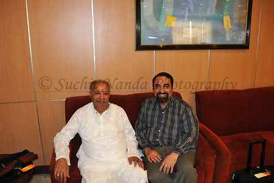 Pt. Hariprasad Chaurasiya and Suchit Nanda at the airport in Delhi. Flew togetherto Delhi and Jolly Grant Airport to go to Haridwar where Pt. Hariprasad Chaurasiyaji had a performance during the Kumbh Mela at Haridwar.  Kumbh Mela is the biggest religious gatherings on the planet which takes places on the banks of the river Ganga. The number of pilgrims this year is expected to exceed around five million since the first day Jan 14 till the time it concludes on April 28, 2010. The auspicious days of the shahi snan or royal baths usually draw hundreds of thousands of devotees to the Har Ki Paudi and other banks of the river. Uttarakhand. North India.