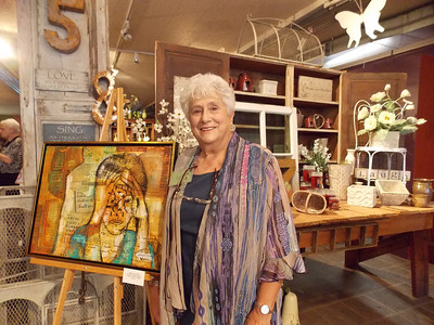 "Angela Scanzello displays ""Semantic Mind Field"" at Jackie & Daughter in Kutztown for Artists' Harvest Oct. 4. Patriot photo by Lisa Mitchell"