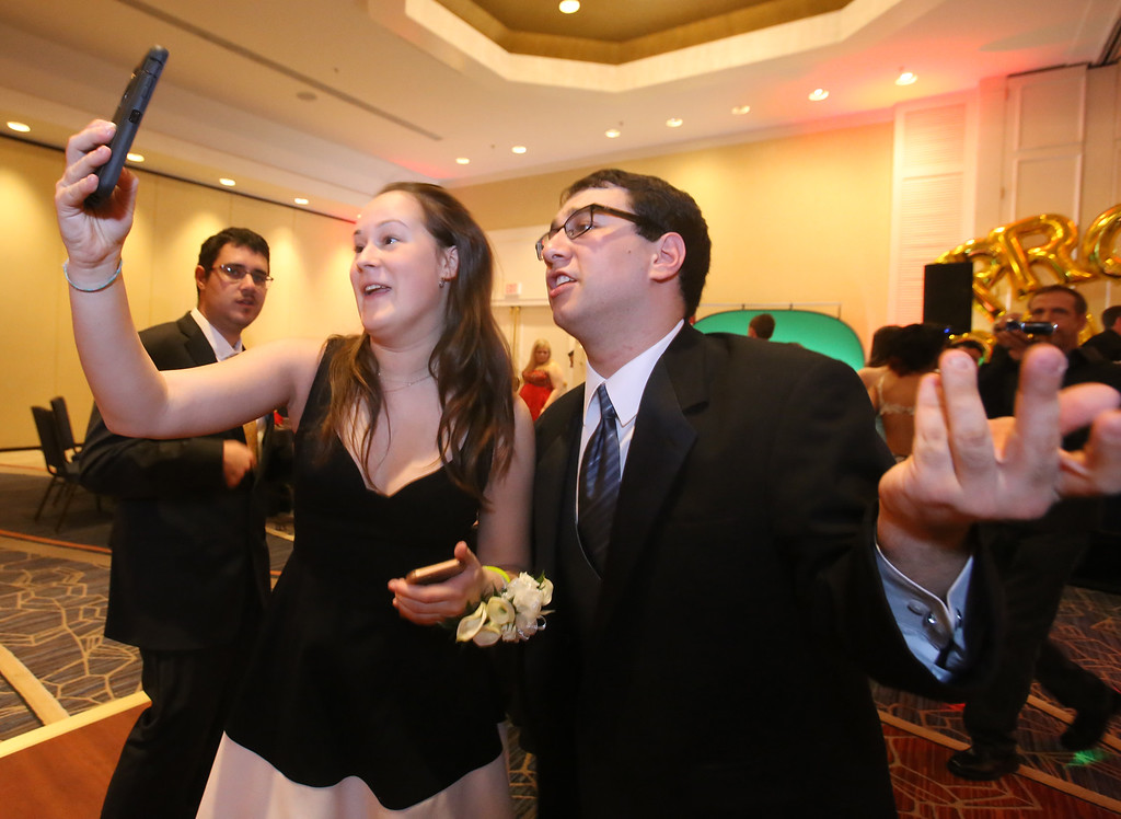 . LABBB Collaborative\'s Prom at the Boston Marriott Burlington. From left, Lily Meyers, 20, of Wellesley, and Jacob Myers, 20, of Bedford. (SUN/Julia Malakie)