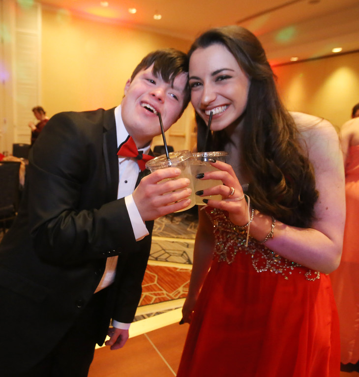 . LABBB Collaborative\'s Prom at the Boston Marriott Burlington. Tucker Collins, 18, of Shrewsbury, left, and Jamie Barth, 18, of Littleton, who are friends from Miracle League where Barth volunteers. (SUN/Julia Malakie)