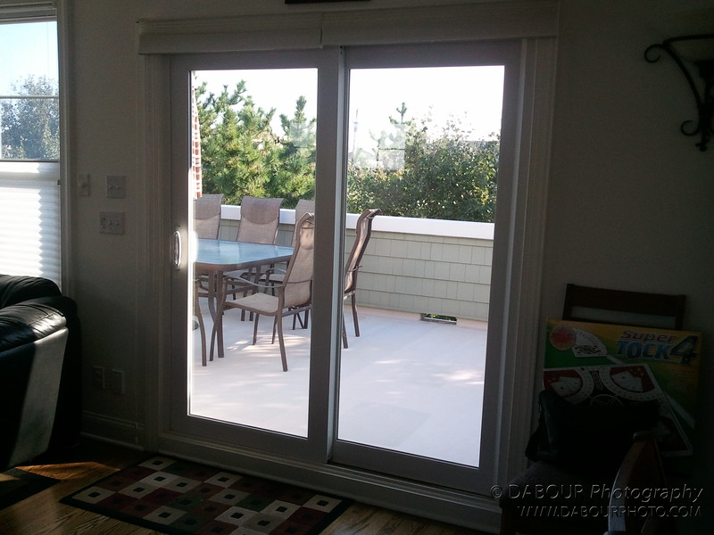View from dining room to outside deck on third floor