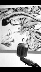 the mic ... against the CD artwork by Johnathan Ball and music CD by Lisseries album Brian Liss, Pat Kelly, John Jamieson & Cyndi Richards of Soundhouse Studios, Billy Dee Williams, and Robert Gordon and other talents ...