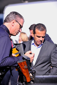 LOS ANGELES CITY MAYOR ANTONIO VILLARAIGOSA , LOS ANGELES POLICE CHIEF CHARLIE BECK AND, GUILLERMO CEPEDES FROM GYRD HAVE GUN BUY BACK AT THE LOS ANGELES SPORTS ARENA, RALPHS GROCERY STORE DONATES GIFT CARDS IN EXCHANGE FOR GUNS ON DECEMBER 26, 2012 (Photo by Valerie Goodloe)