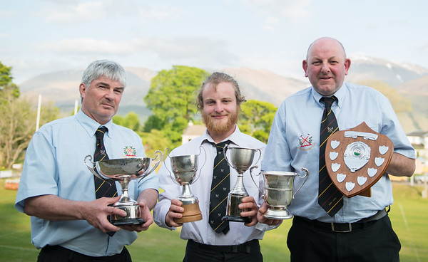 LRFC l-R  Gary Hendrie ( Club Person of the Year) Euan Larter (Player of the year and Players Player) and Alastair MacKinnon (Club President who is presenting the trophies . Other Award Winners Mathew Bradley (Calum mercer memorial award) Innis Ireland(Most Improved Player) Couldnt be there. PICTURE ALBA.PHOTOS