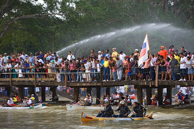 Spectators watch as the La Ruta Maya River Challenge 2008 gets on its way in San Ignacio, Cayo, Belize, Central America.