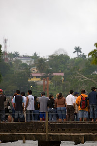 Spectators gather in anticipation of the 2008 start of the La Ruta Maya River Challenge in San Ignacio, Cayo, Belize, Central America