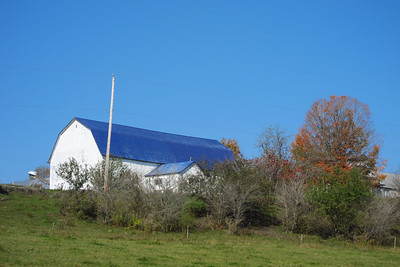 White and Blue Barn