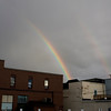 Record-Eagle/Keith King<br /> A double rainbow is visible over downtown Traverse City Saturday.