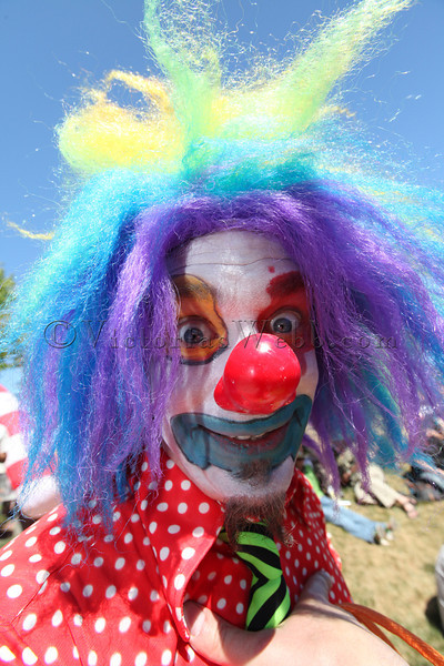 """Froghole"" the clown at the Fourth Annual Lagunitas Beer Circus held on May 20, 2012, benifiting The Petaluma Music Festival-Keeping Music In Schools."