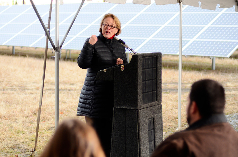 U.S. Rep. Niki Tsongas speaks during the ribbon cutting ceremony for Lancaster's solar array on Route 70, Friday.<br /> SENTINEL & ENTERPRISE / BRETT CRAWFORD