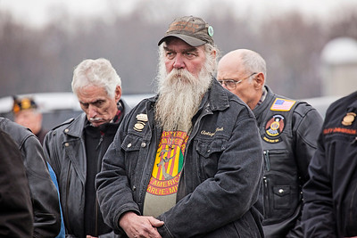 Patriot photos by Roxanne Richardson Reading Motorcycle Club, Rolling Thunder, came out to show its support. The club has members who are former Marines and have known the Hoch family for years. Larry Hoch's younger brother, Preston, was a member of the club. The club is a big supporter of the POW/MIA.