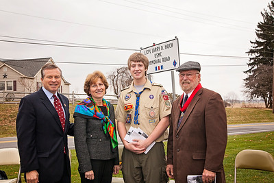 """Patriot photos by Roxanne Richardson A Topton Eagle Scout project by Noah Coco was  a sign """"L/CPL Larry D. Hoch USMC Memorial Road"""" along Topton Road in front of the Kutztown Area School District Administration Office. Congressman Charlie Dent, Senator Judy Schwank, Life Scout Noah Coco, Troop 510, Master of Ceremonies and Eagle Scout Advisor, Dave Ehrig."""