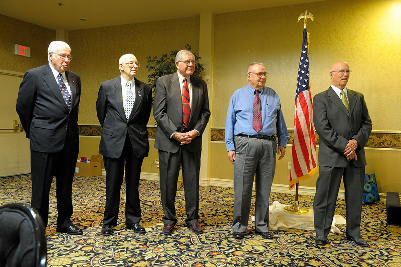 New Officers for 2009-2010:  Right to Left - Virgil Schultz, President; Fred Shannon, First Vice President; Cres Baca, Second Vice President; Fred Wyant, Treasurer and Gene Armstrong, Secretary