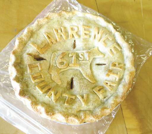 Mitchel Olszak/NEWS<br /> This pie by xxx featured a crust with a logo of the Lawrence County Fair. It came in third in the fair's applie pie contest.