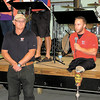 Former Navy SEAL Frank Hoagland and Marine Cpl. Brandon Rumbaugh — who lost both of his legs in Iraq — answer questions after sharing their testimonies during the For God and Country Crusade at the Lawrence County Fair.  — Sam Luptak Jr.