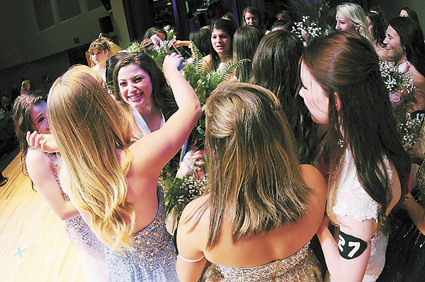 Tiffany Wolfe/NEWS<br /> Caroline Orrico of Neshanock High School receives congratulations from fellow contestants after being named Lawrence County 2015 Distinguished Young Woman.
