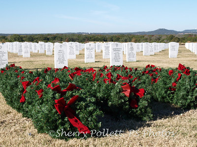 The wreaths are all lined up and ready for placement.