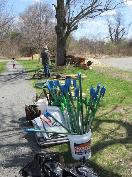 The sanctuaries are prepared, with tools, work gloves, and snacks for the volunteers.