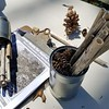 Volunteers at Blue Hills learn how to create bee structures that provide shelter for the pollinators.