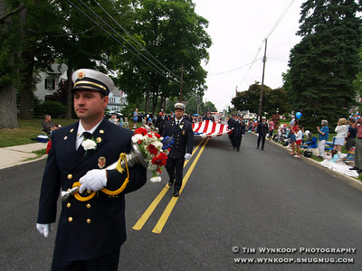 Lebanon Borough, NJ, July 4, 2007: Lebanon Borough Fire Chief, Albert Ross, leads the members of his department in the annual Fourth of July parade in the borough. (Photo by: Tim Wynkoop)