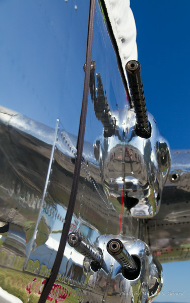 A B-25 Mitchell 'Panchito' was at the show and did flybys. It was not painted and you could see your reflection in the aluminum skin.