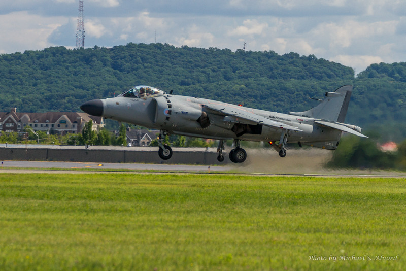 Art Nalls Sea Harrier performed a short field takeoff.