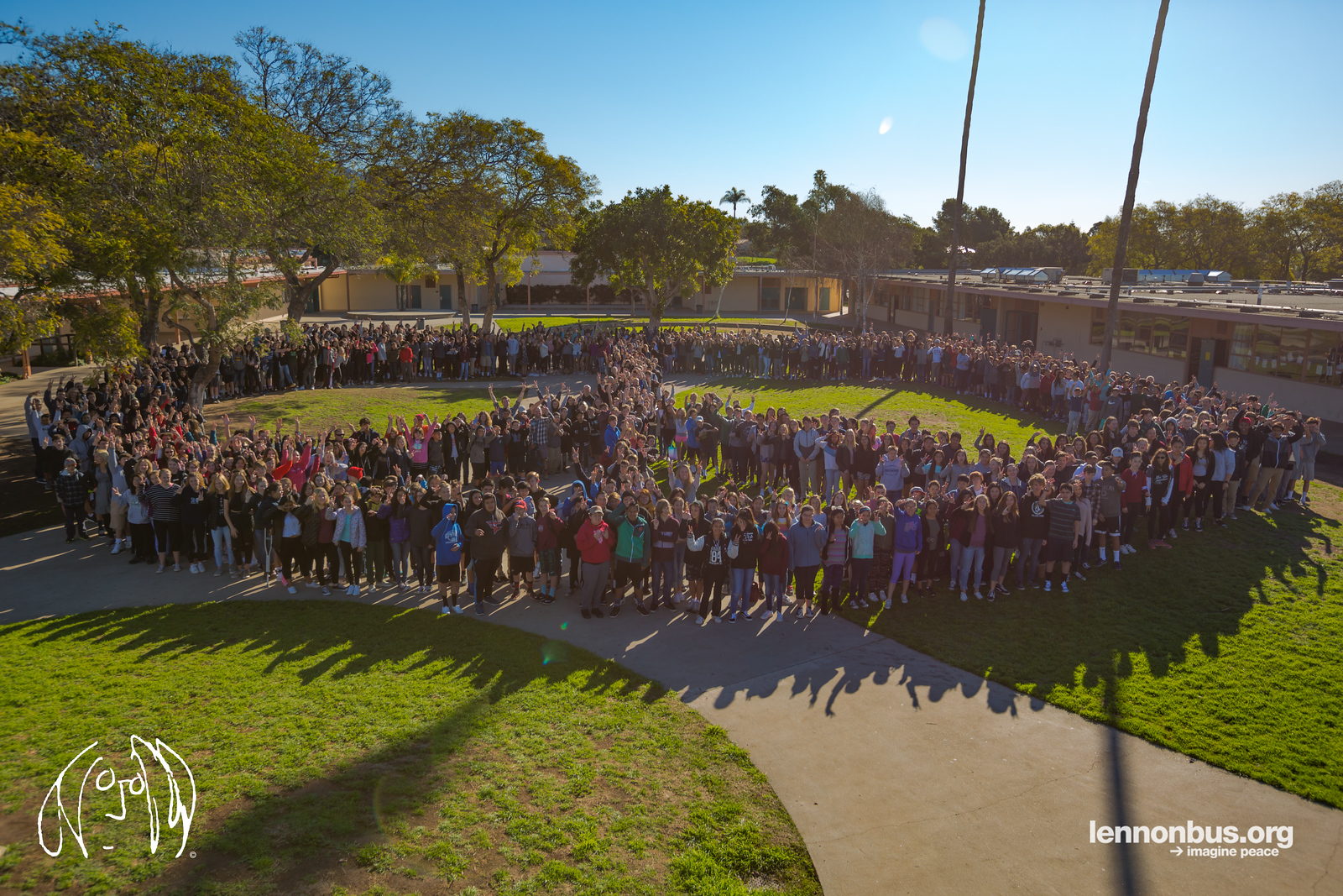 2017_02_28, CA, human peace sign, La Colina Junior High School, peace signs, Santa Barbara, Students