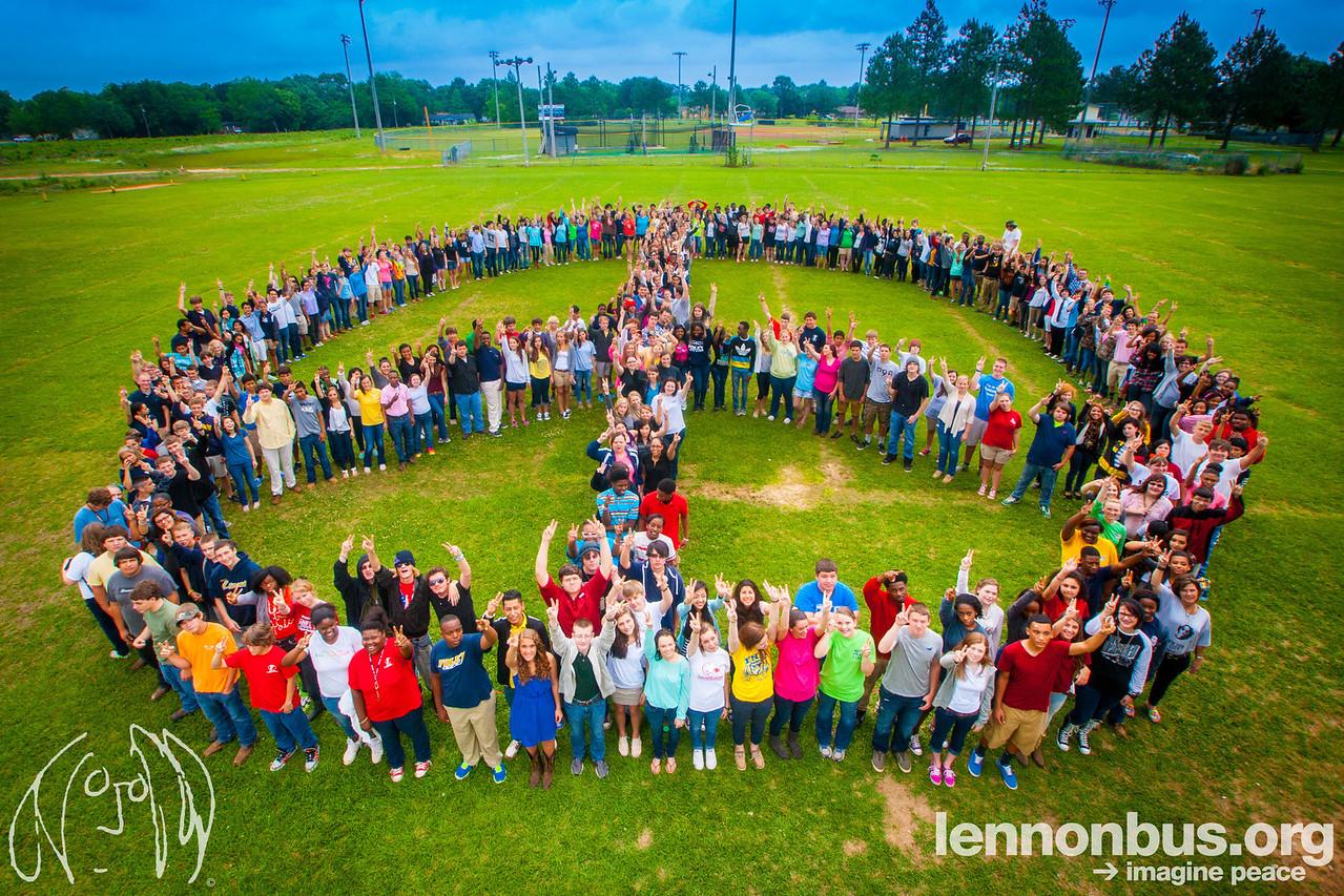 2014_05_09, Foley, Alabama, Foley High School, Human Peace Sign, Watermark