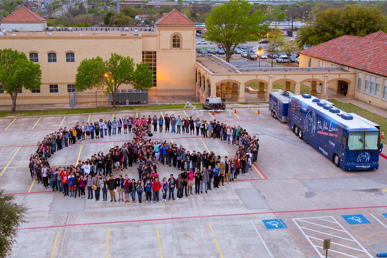 2016_03_23, bus, Dallas, Exterior, Garland High School, human peace sign, TX