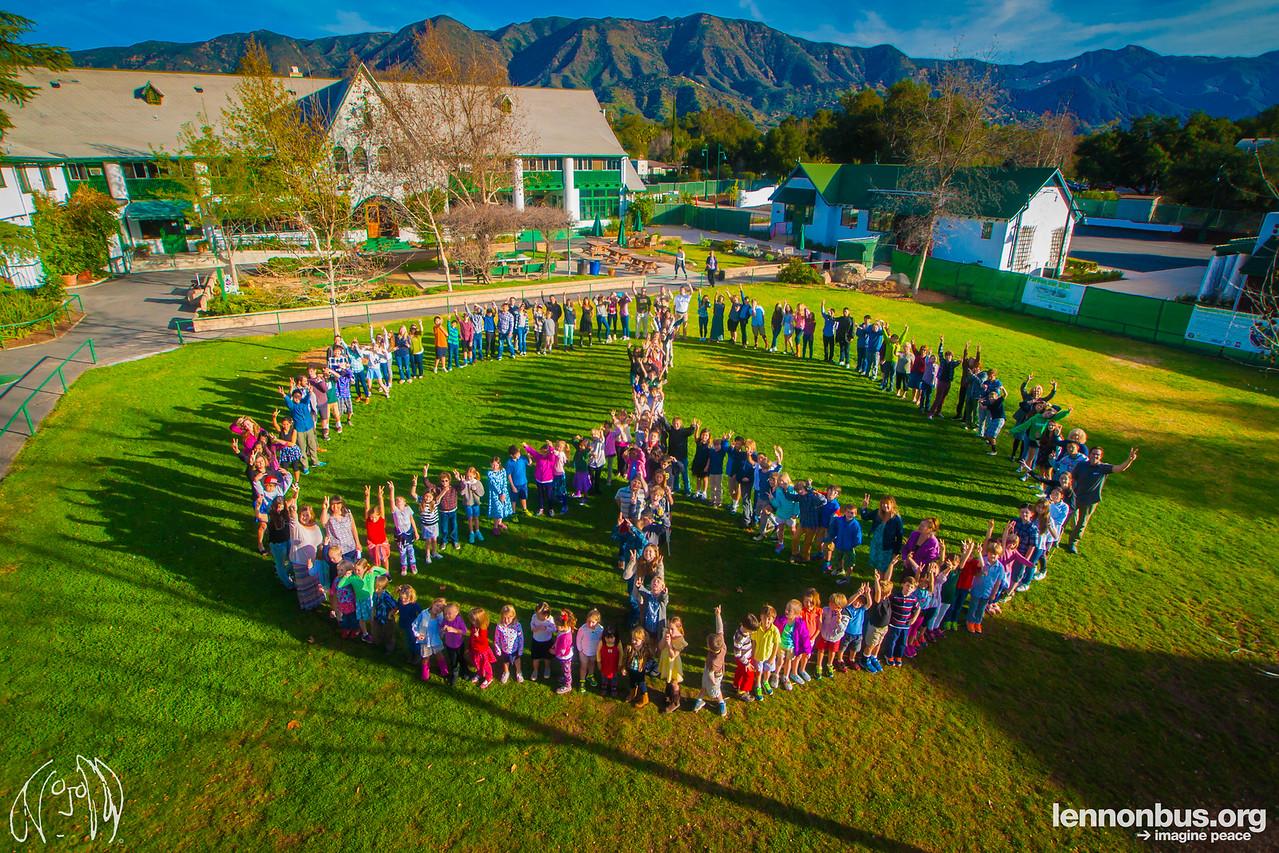 2015_02_11, Ojai, CA, Ojai Valley School, Human Peace Sign