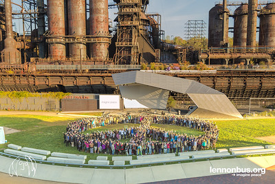2016_11_01_Bethlehem_PA_The_Lehigh_Valley_Charter_High_School_for_the_Arts, peace sign, students, peace signs, lennonbus.org, SteelStacks, Levitt Pavilion