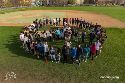 2017_04_18, Chicago, IL, Roberto Clemente High School, human peace sign, peace signs, Students