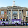 A purple fire truck was Mayor Dean Mazzarella annual surprise during the Light the Town Purple event in honor of the upcoming Greater Gardner Relay for Life. SENTINEL & ENTERPRISE / Ashley Green