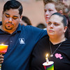 Justo Diaz and Kelli Coleman listen to speakers during a vigil in remembrance of the Orlando shooting victims on Monday evening on the Fitchburg Upper Common. SENTINEL & ENTERPRISE / Ashley Green