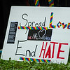 A sign is seen during a vigil held on Fitchburg's Upper Common in remembrance of the Orlando shooting victims. SENTINEL & ENTERPRISE / Ashley Green