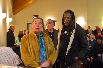 Leon Littlebird, Tom Fricke with a halo, and Arnie Greene.