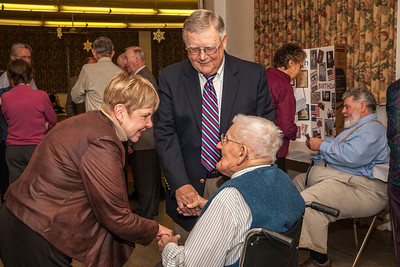 Patriot photos by Roxanne Richardson Lester Hoch (sitting), a native of Fleetwood, celebrated his 100th birthday with more than 100 friends and family at Fleetwood Grange on Sunday, Dec. 29.