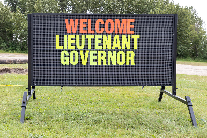Visit of Ontario Lieutenant Governor Elizabeth Dowdeswell to Moosonee 2018 August 14. - sign across from Town Offices.