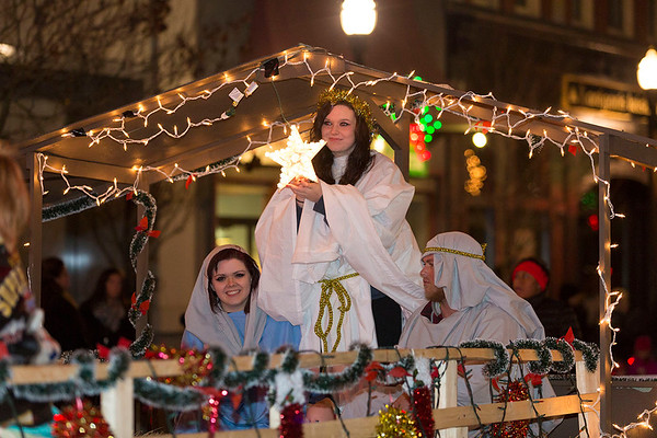 Next Level Photographers<br /> A parade float depicts a nativity scene.