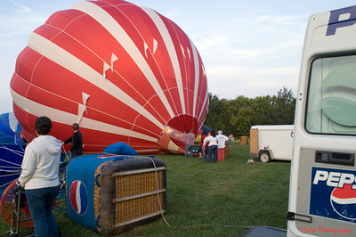 Starting to heat up the air in the balloon