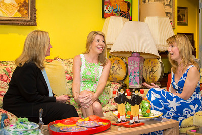 Photo: Jacek Gancarz. Caption: Friday, February 21, 2014, L-R, Leslie Hindman of Leslie Hindman Auctioneers, speaks with prospective buyers Susan Trader of Cape Coral, Fla. and Michele Baymor of Philadelphia, during a preview of property from the estate of Lilly Pulitzer of Palm Beach, Fla. The auction takes place Saturday, February 22, 2014.