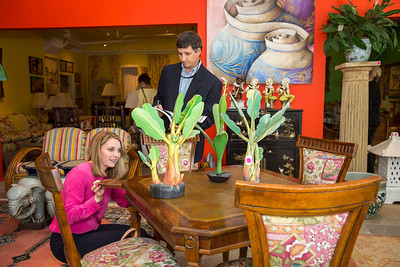 Photo: Jacek Gancarz. Caption: Friday, February 21, 2014 - Leslie and Will Bannister of Fort Worth, Texas, examine merchandise in the showroom of Leslie Hindman Auctioneers in West Palm Beach, Fla. during a preview of property from the estate of Lilly Pulitzer of Palm Beach, Fla. Leslie Bannister is an interior decorator and she flew in from Fort Worth with her husband for the sale on Saturday, February 22, 2014.