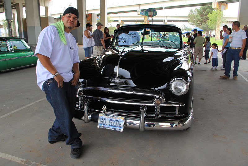 """This car, a 1950 Chevy Custom, was brought in from Las Vegas, Nevada. Last year it won 2nd place in the category of """"Best Custom"""" at the Las Vegas Super Show. The car club is known as """"show low""""."""