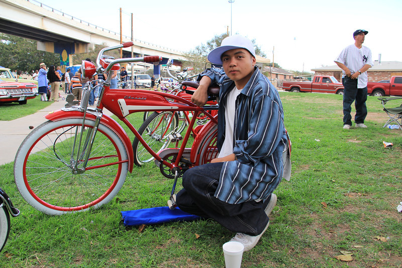Meet the artist, his passion is restoring vintage bicycles to their original condition. In this collection there are two bicycles from the 1950's and one from the 1940's, all three are Western Flyers.