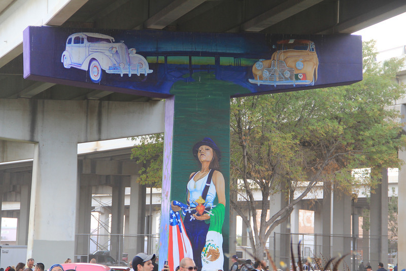 One of several highway pillars that have been decorated to represent the Hispanic culture of the El Paso, Texas.