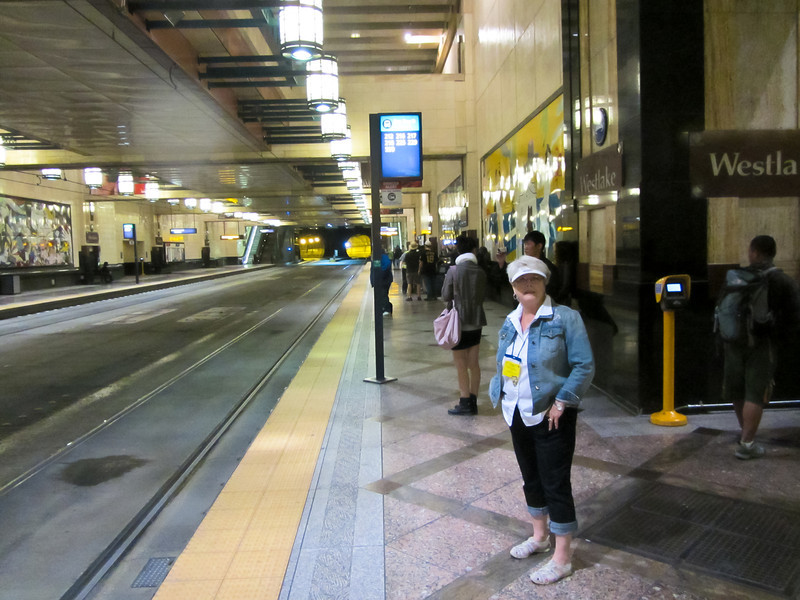 Taking the subway to Safeco Field for the baseball game on Sunday afternoon