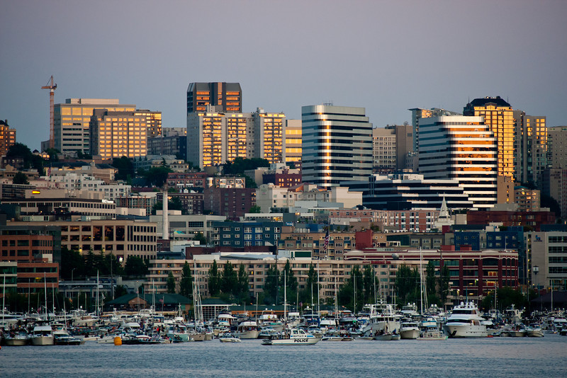 Seattle from Lake Union - boats packed in tightly waiting for fireworks show
