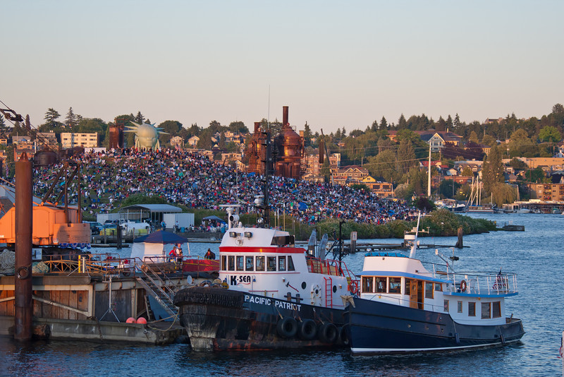 Lake Union waiting for fireworks show on 4th of July