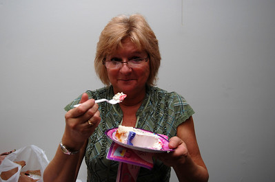 46 Tammy enjoying her piece of the Baskin Robbins cake the Girls' Night Out girls brought for Lisa