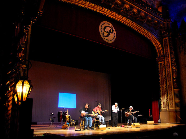John P. Cleary | The Herald Bulletin<br /> Jeff Hardin, John Gunter, Carl Erskine, and Dan Daugherty of the Cops and Robbers Band play a number during the Little Bit Country Jamboree Tuesday evening at the Paramount Theatre.  The show benefits Madison County Special Olympics.